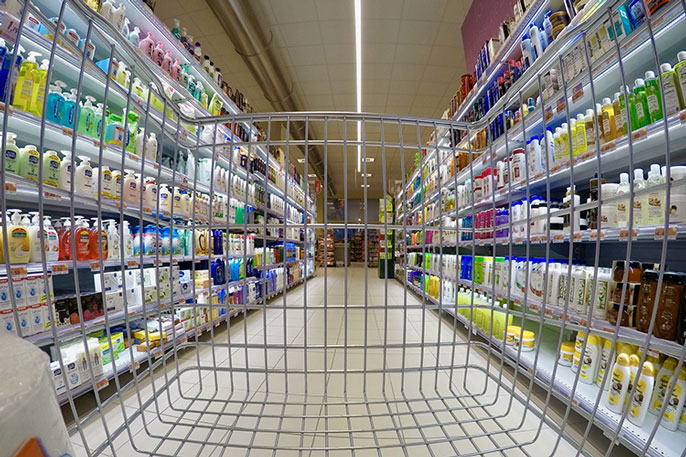 Consumer products viewed through a shopping cart