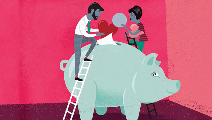 Two people sharing a piggy bank illustration