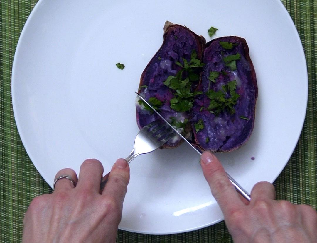 Purple potato with lime