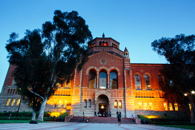 Powell Library at evening, UCLA