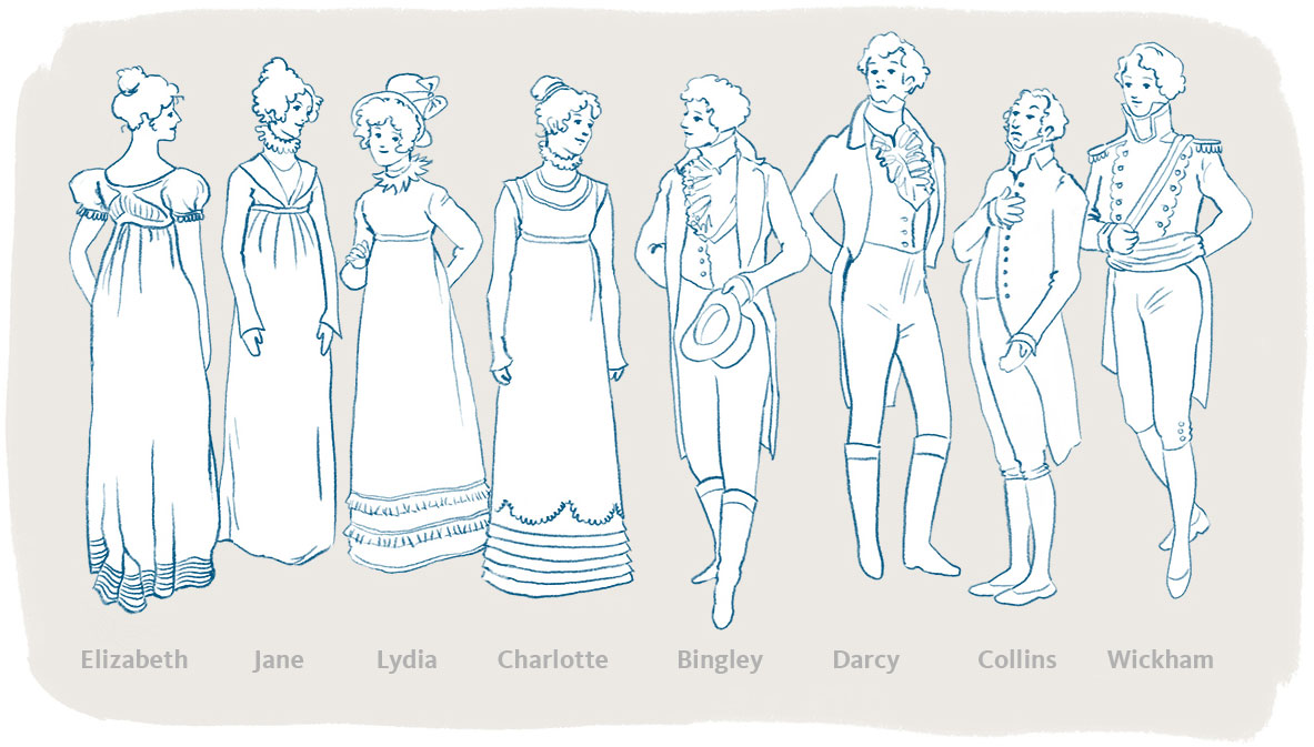19th century Pride and Prejudice characters standing together illustration