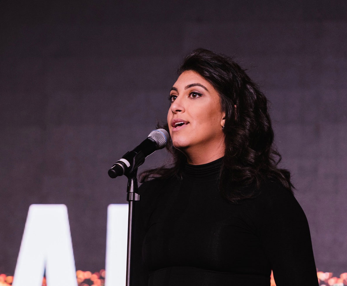 Rachel Sumekh giving a speech