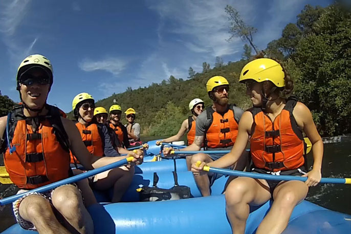 People on a whitewater raft