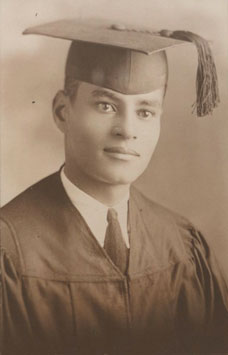 Ralph Bunche in graduation cap and gown