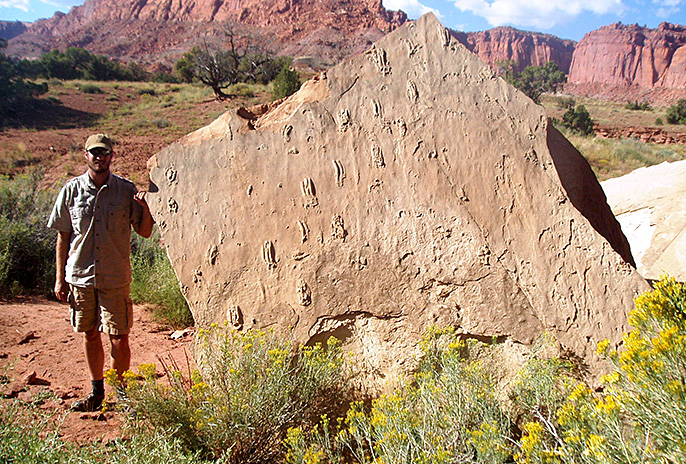 Tracy Thomson and fossil rock