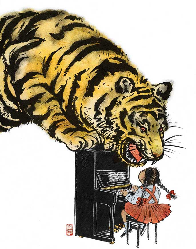tiger and girl playing piano