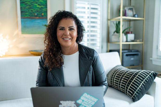 Safiya Noble at computer