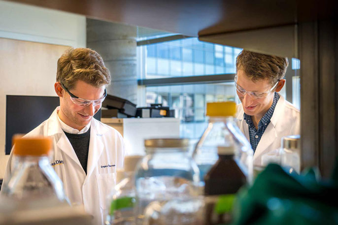 Two bioengineers working in a UC San Diego lab
