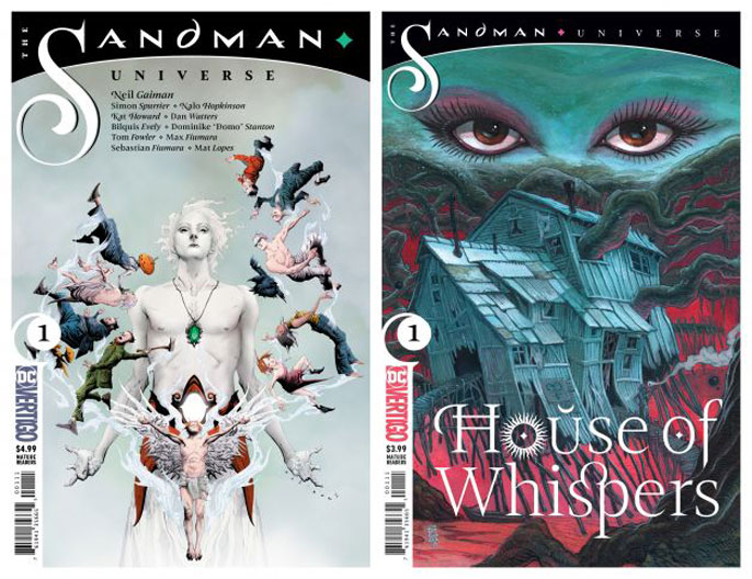 "Cover designs for ""Sandman Universe"" and the first issue of ""House of Whispers."""