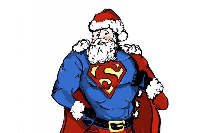 Santa vs. super heroes