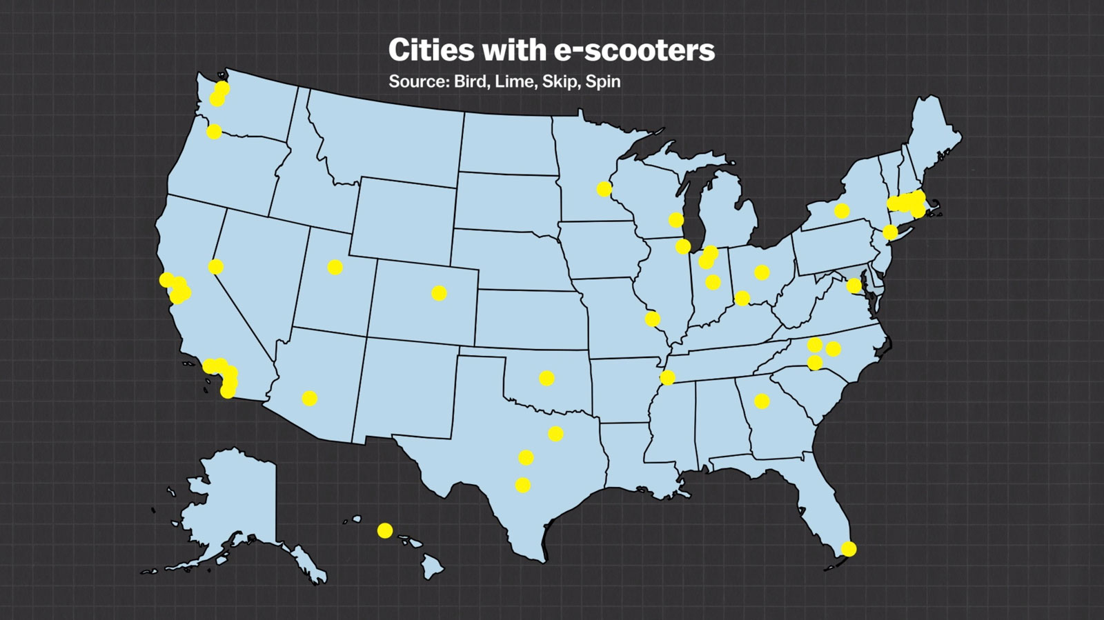 map of cities with e-scooters