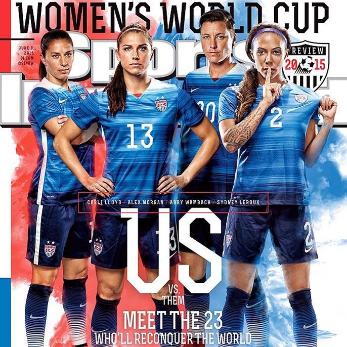 Alex Morgan (13) of UC Berkeley and Sydney Leroux (2) of UCLA are among the U.S. women's national team players on last week's cover of Sports Illustrated previewing the Women's World Cup.