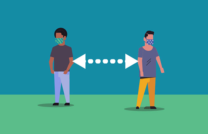 Illustration of two people social distancing