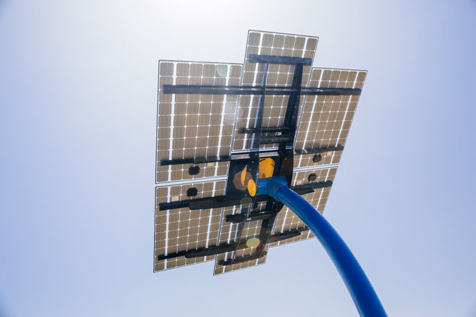 A solar panel on the UC San Diego campus