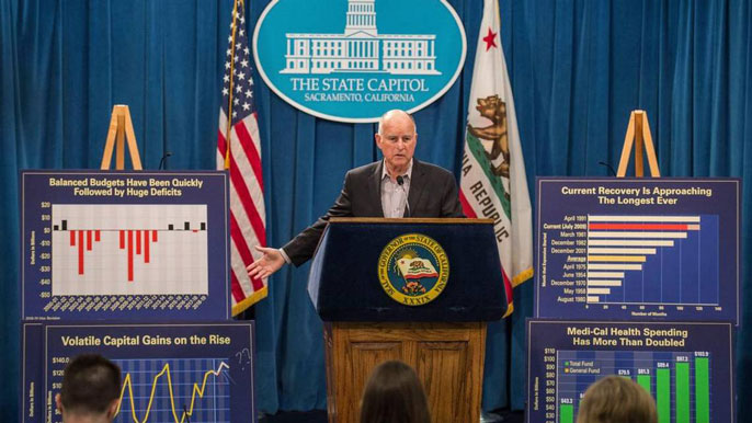 Jerry Brown gives a presentation