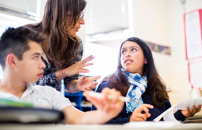 teacher and high school students