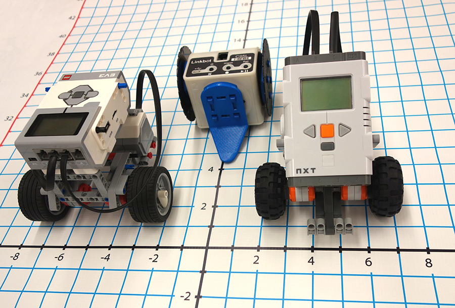 Three robots on a grid