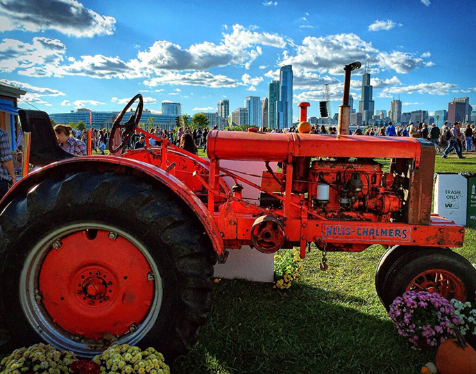 red tractor in Chicago