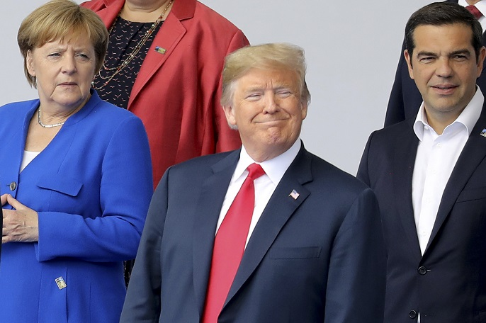 Trump, Merkel and another foreign leader