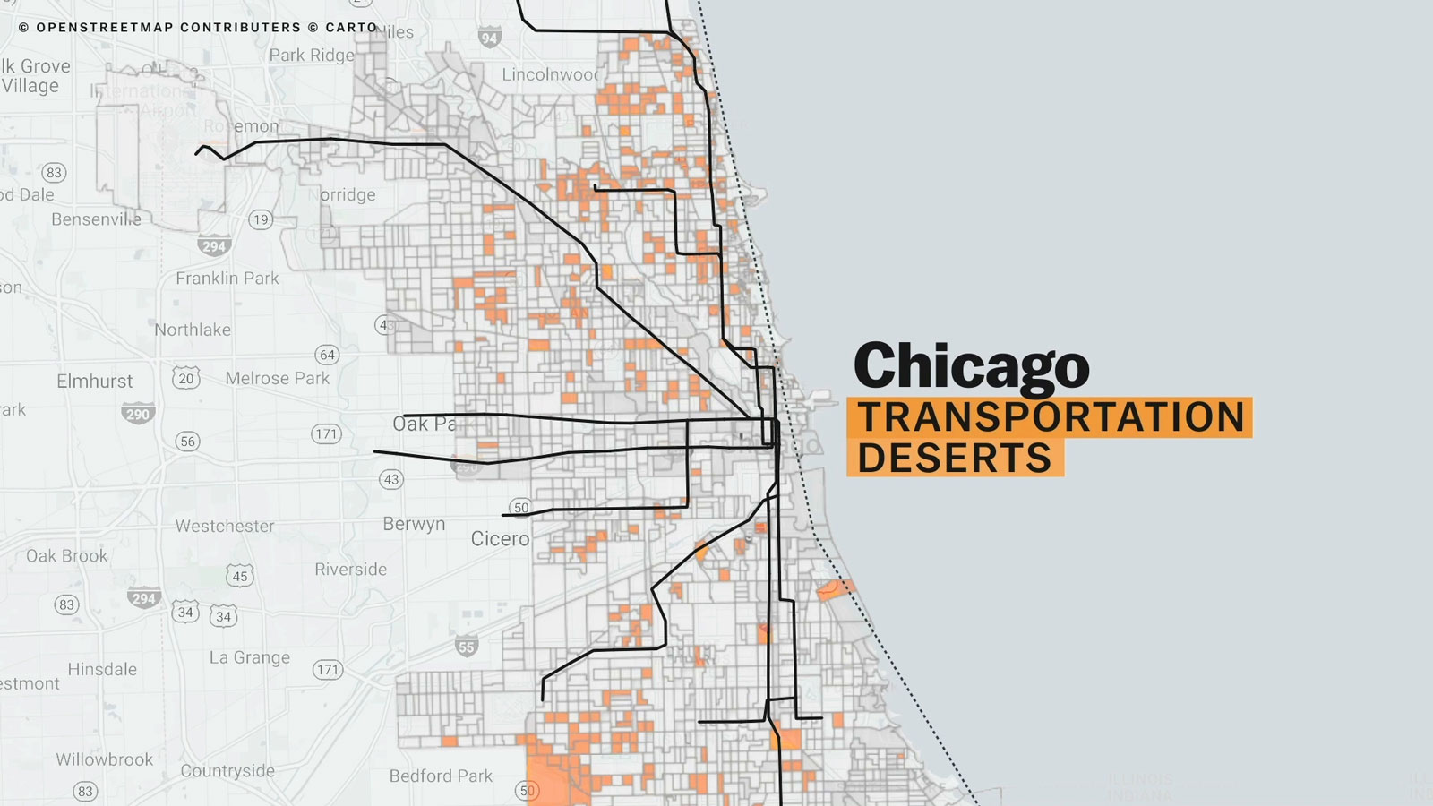 areas in Chicago where transit need is not met