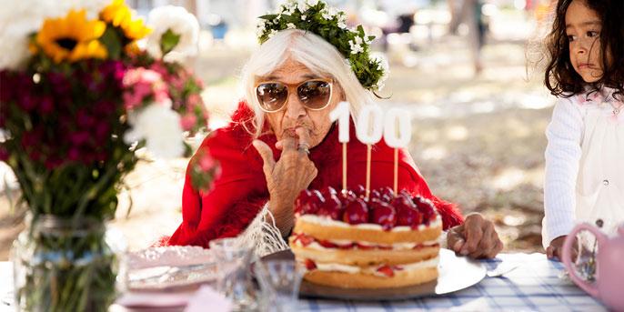 UC Berkeley study 100 birthday candle old woman