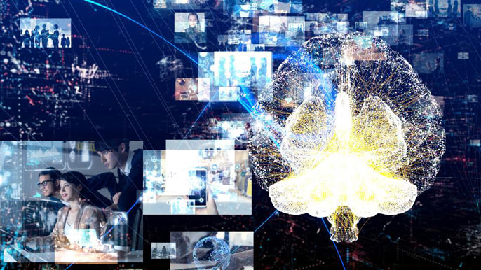 Collage of screens, people and brain imagery