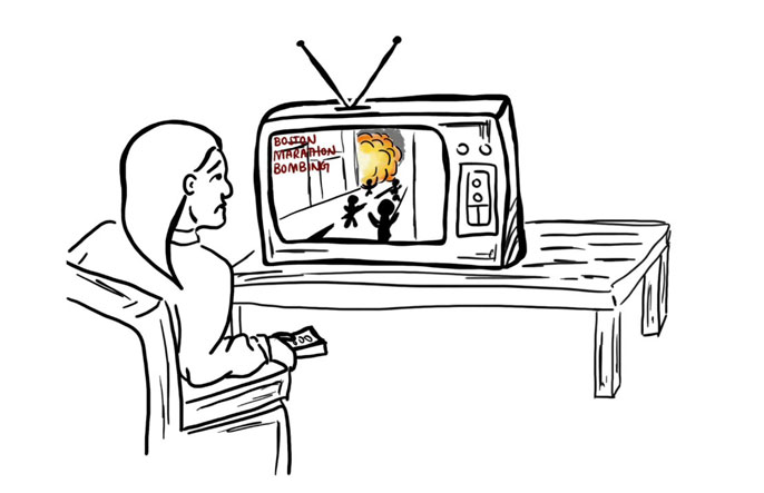 Cartoon of a woman watching an explosion on TV