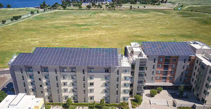Solar panels on top of UC Merced campus buildings