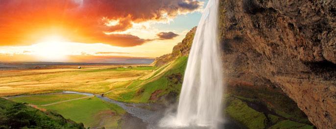 Waterfall with sunshine