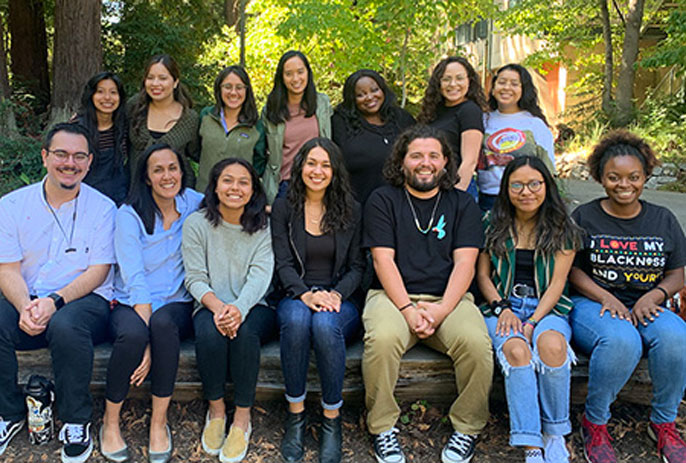 Rebecca Covarrubias in a group of first-gen students