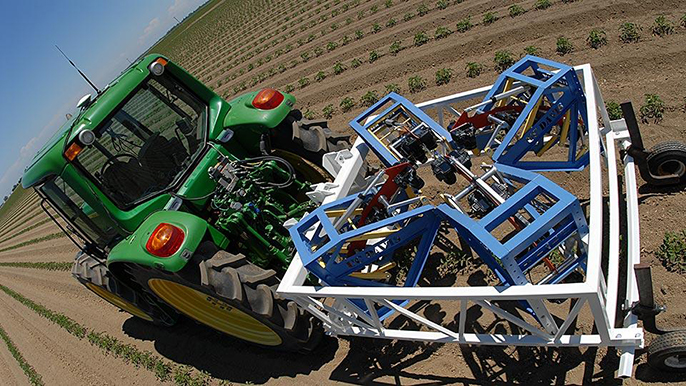 The new tractor-drawn phenotyping machine, developed at UC Davis, can measure three plants per second, using advanced sensor technology.