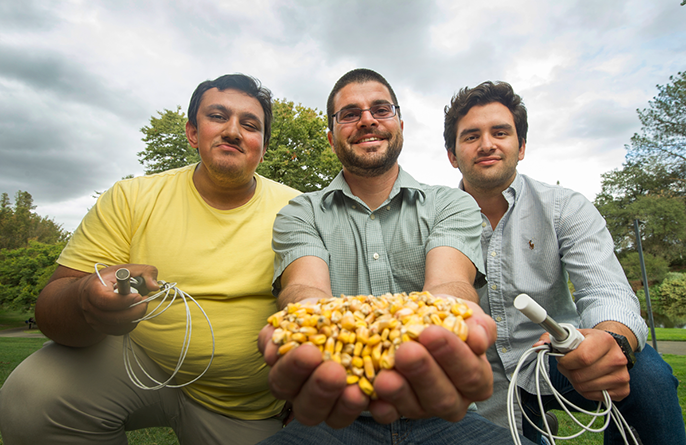 The winning team in the UC World Food Day Video Challenge: (From left) Umayr Sufi, Irwin Donis-Gonzalez and Carlos Orozco-Gonzalez.