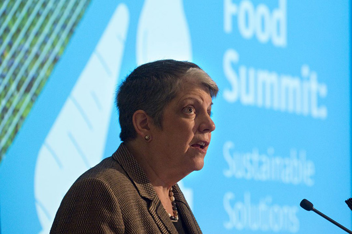 UC President Janet Napolitano delivers the Global Food Summit's keynote address at the UC Irvine Beckman Center.