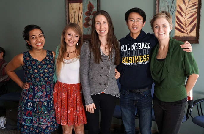 UC Global Food Initiative student fellows from UC Irvine include (from left) Ankita Raturi, Sally Geislar, Crystal Hickerson, Alexander Fung and Victoria Lowerson-Bredow.