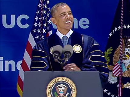 President Obama speaking at the UC Irvine commencement ceremony