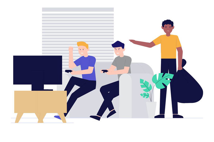Illustration of two white young men playing video games and a young Black man standing aside