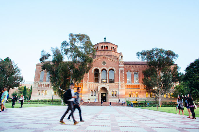 UCLA royce hall with students