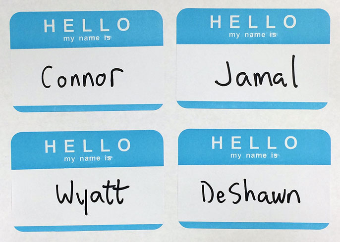 four name tags