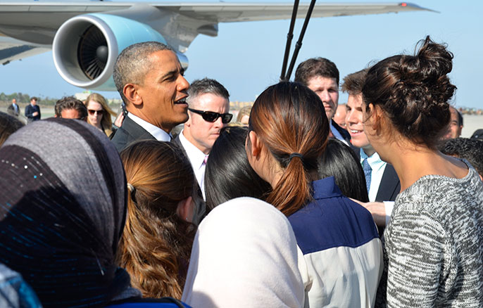 President Obama and UCLA students at LAX