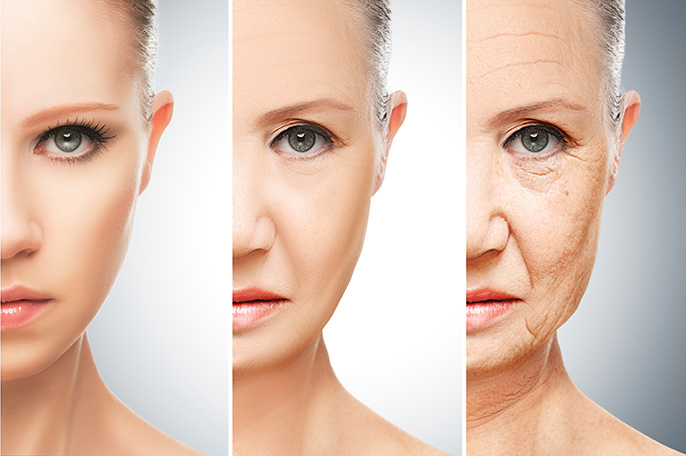 aging woman: young, middle aged, old