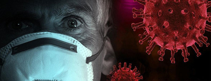 Man with mask with a coronavirus illustrated next to him