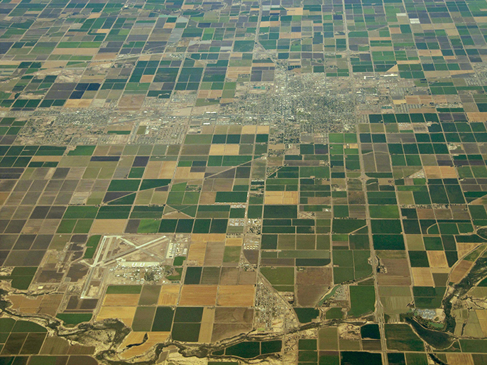 Aerial image showing farming in California's Imperial Valley.