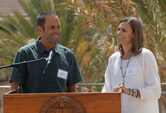 Alumni Jack and Kim Johnson celebrated the launch of the Edible Campus project at UCSB, a sustainable food initiative supported by their Johnson Ohana Foundation.