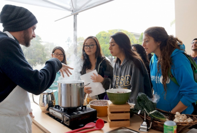 Chef Mickael Blancho of UCSB's University Center Dining Services, better known as the UCSB Soup Guy, gives a cooking demonstration to kick off the new Food, Nutrition and Basic Skills Program for students.