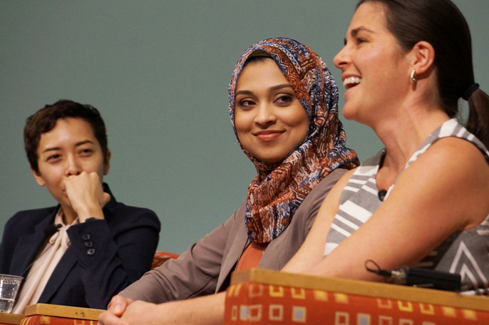 UC Student Regent Sadia Saiffudin of UC Berkeley, center, flanked by Vanessa Terán, left, of Mixteco/Indígena Community Organizing Project, and Melissa Fontaine, right, of Foodbank of Santa Barbara County, were featured in a panel about food justice.