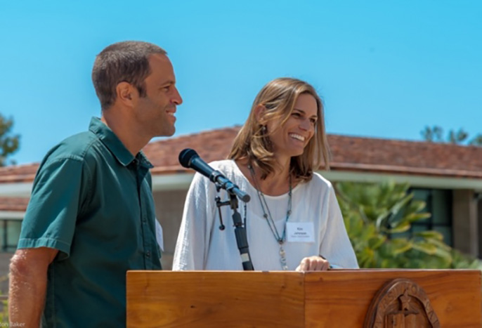 Kim and Jack Johnson helped to launch UC Santa Barbara's Edible Campus Program in 2015 with a tree-planting event at Storke Tower.