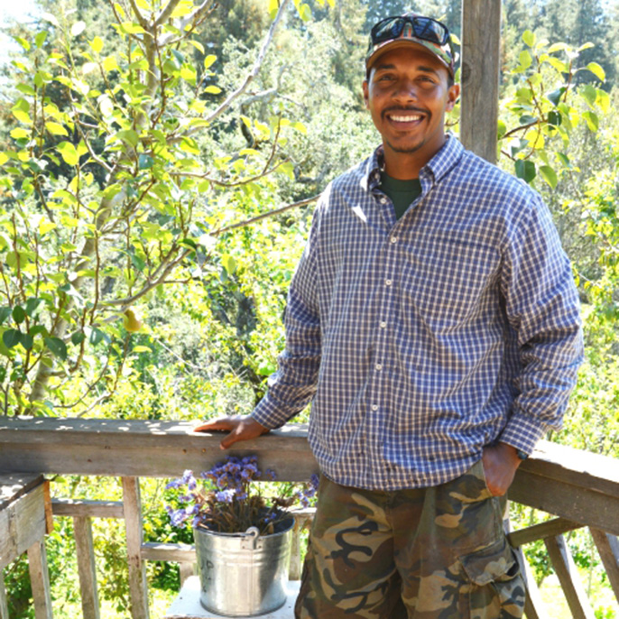 U.S. Army veteran James Harris, an apprentice at the UC Santa Cruz Farm, finds working the soil is another way to serve. Harris joined the Army at age 19 after the 9/11 attacks.