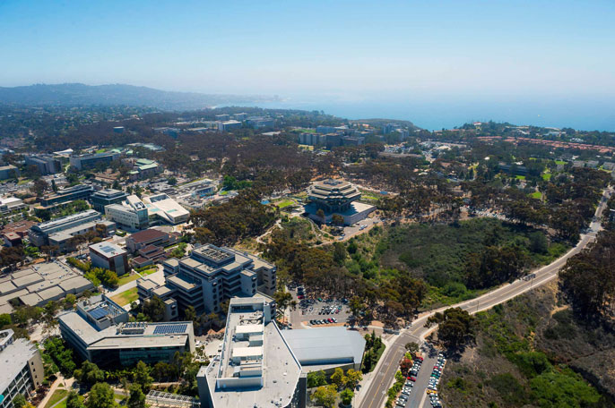 Overhead shot of UC San Diego campus