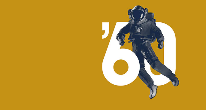 Astronaut on gold background with number 60