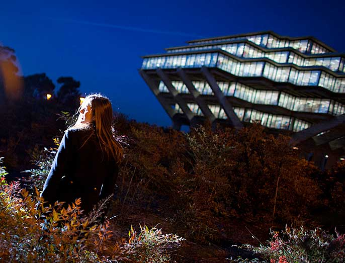 UC San Diego's Geisel Library at night